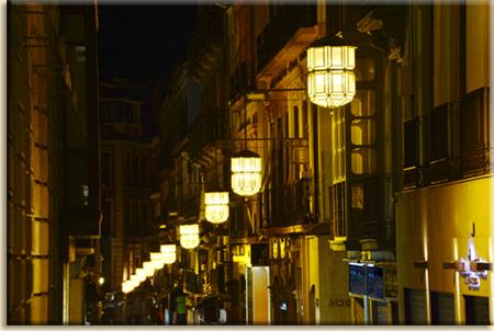 noche iluminada en el Zacatin
