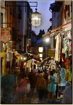 Night on the street of the tea-shops.