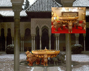 Replica's photomontage in brass and glass of the fountain of Patio de los Leones of the Alhambra.